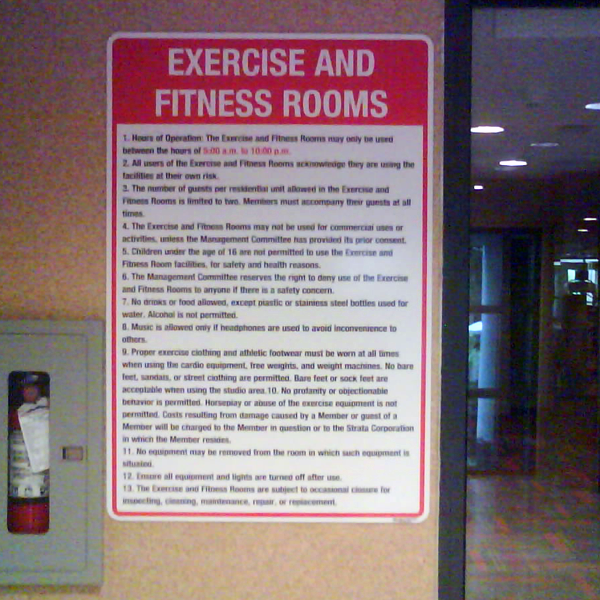 Pool gym regulation signs signs bc illuminated